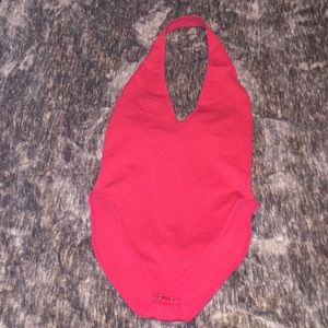 Adorable, Like New Condition, V-Neck, Red Bodysuit